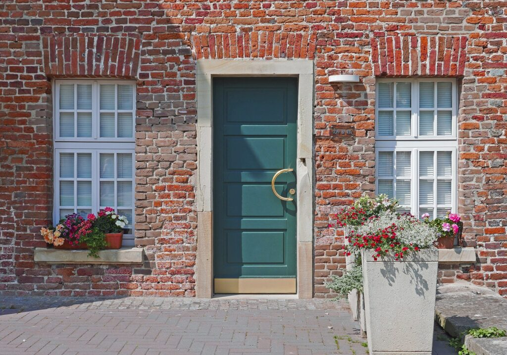The front door of an attractive house