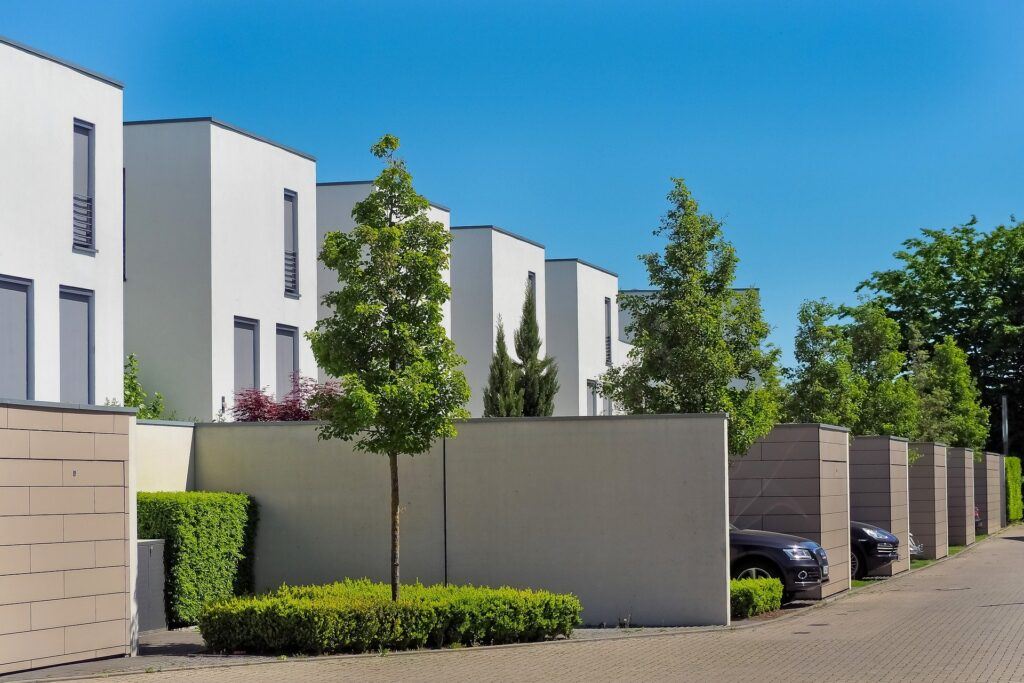 A row of identical modern houses