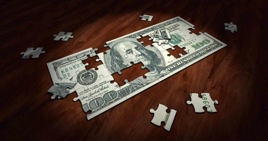 A money jigsaw puzzle