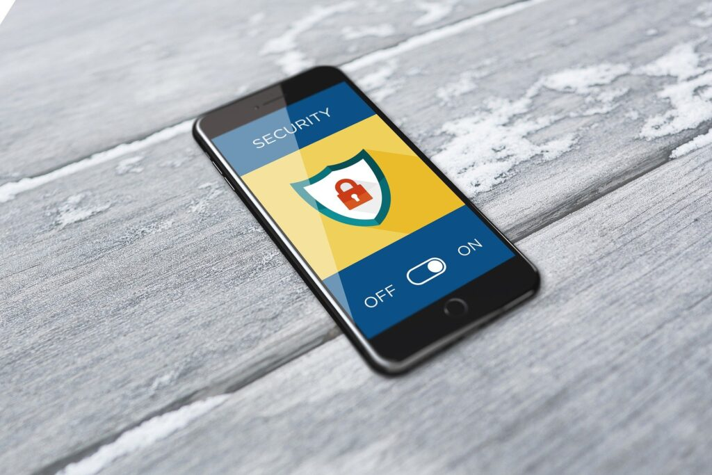 A security app on an iPhone