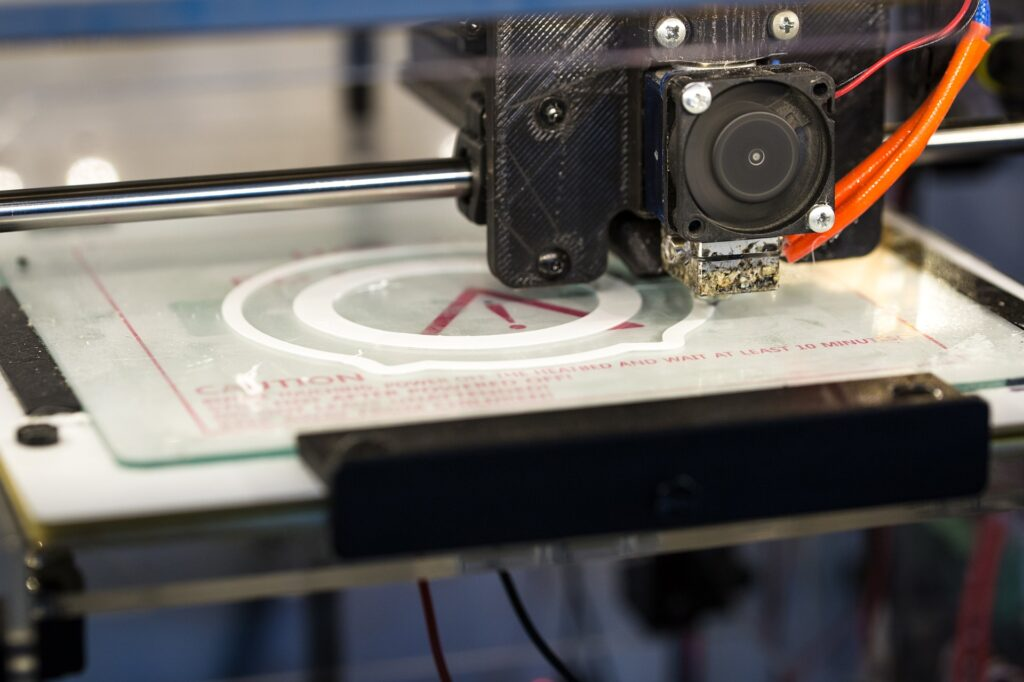 A 3D printer in action