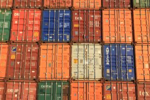 Containers stacked up on a ship