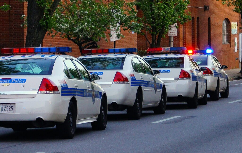 A line of police cars