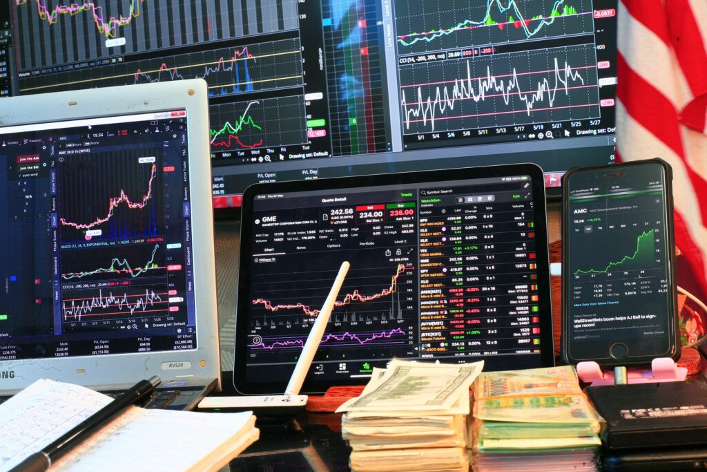 Stock market trading screens