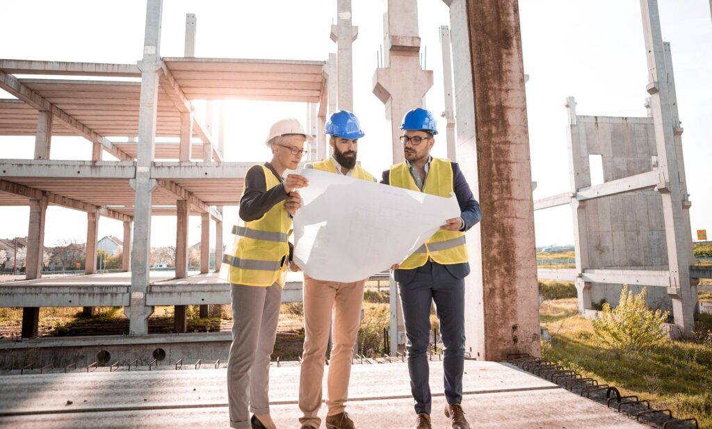 Technical managers on a construction site