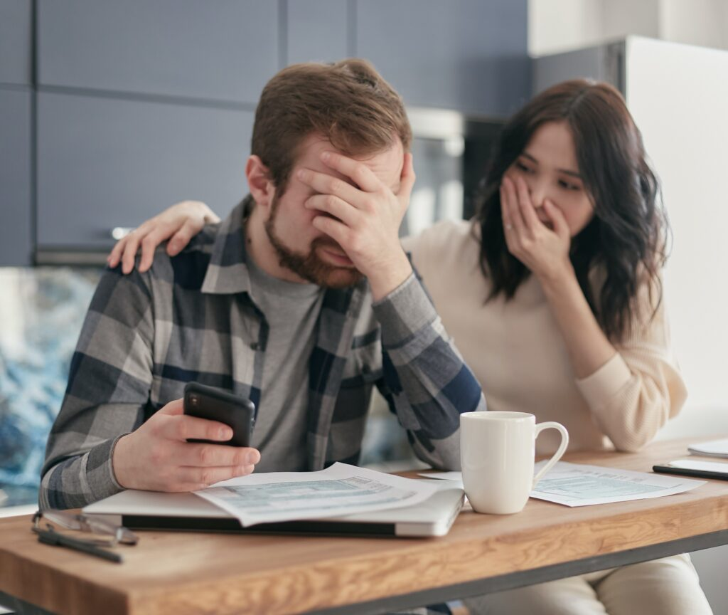 A couple worried by debt