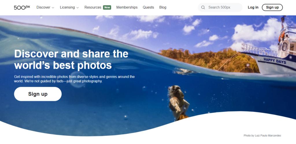 A screenshot of the 500px website