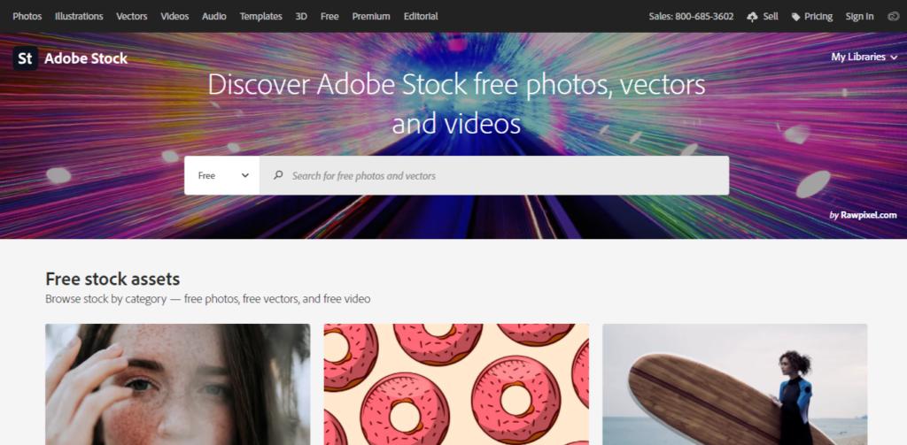 A screenshot of the Adobe Stock website