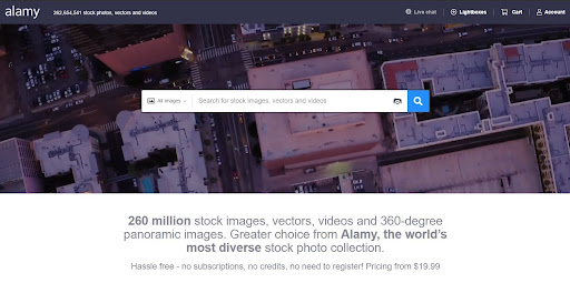 A screenshot of the Alamy website