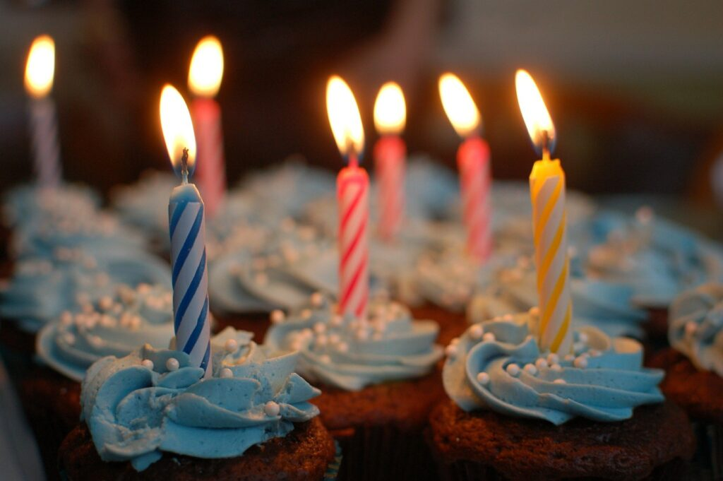 Birthday candles on cupcakes