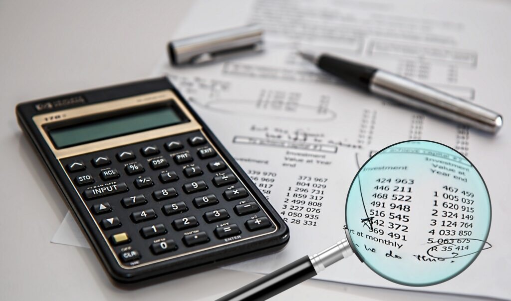 A financial audit and analysis with a calculator