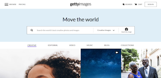 A screenshot of the Getty Images website