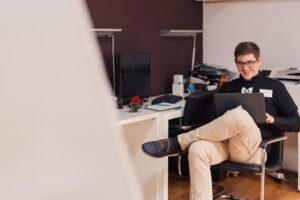 A happy laptop user