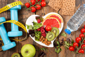 Healthy food and hand weights for training