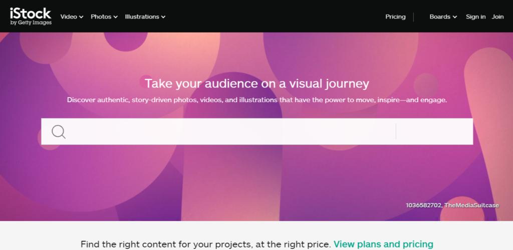 A screenshot of the iStock website