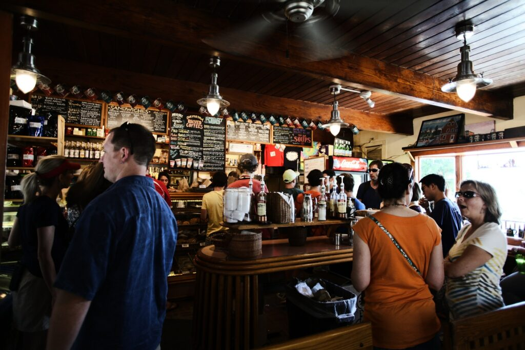 Socialising in a bar
