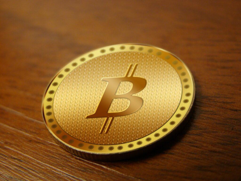 The Bitcoin symbol as a conceptual coin