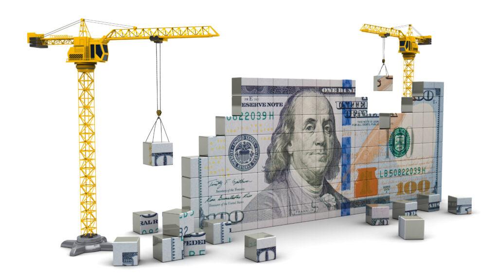 Cranes building wealth and money