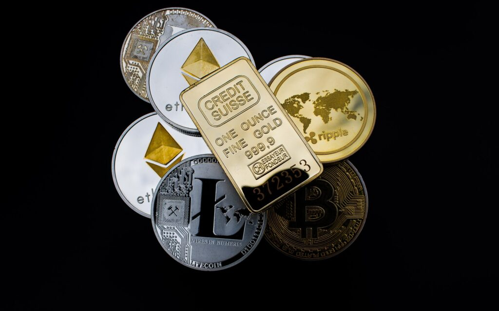 Cryptocurrencies and a gold bar