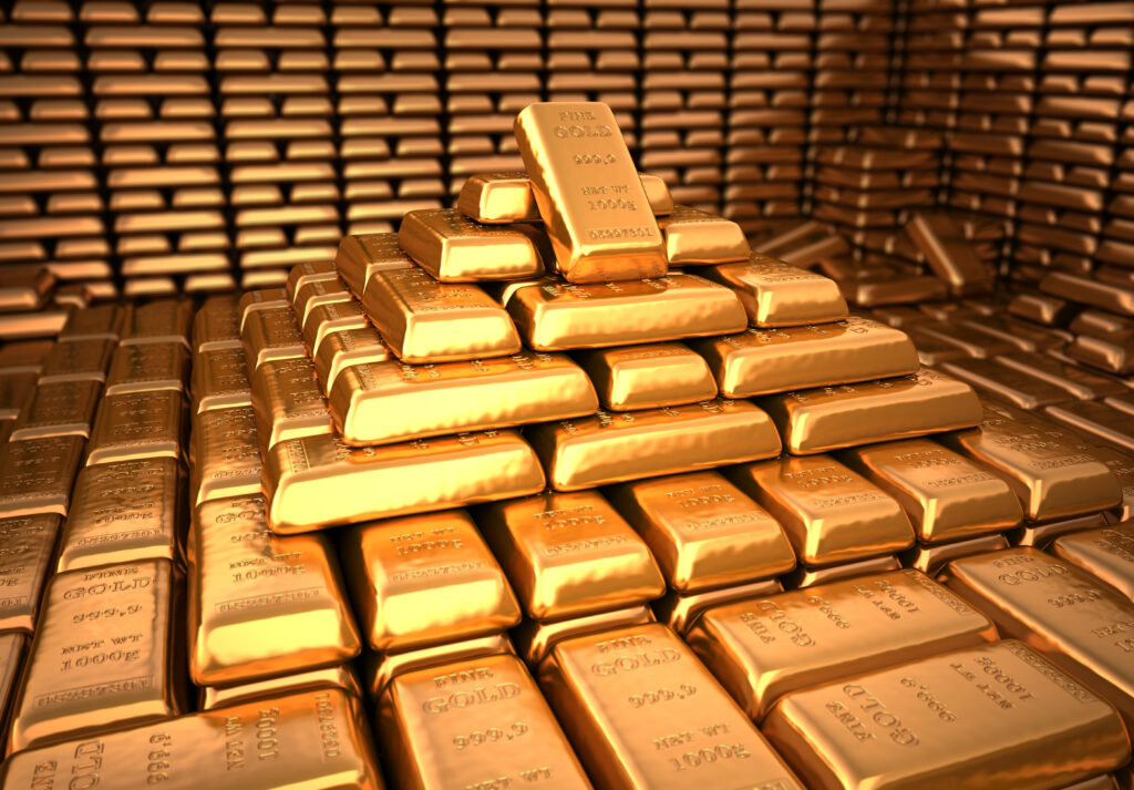 bank vault filled with gold bullion bars