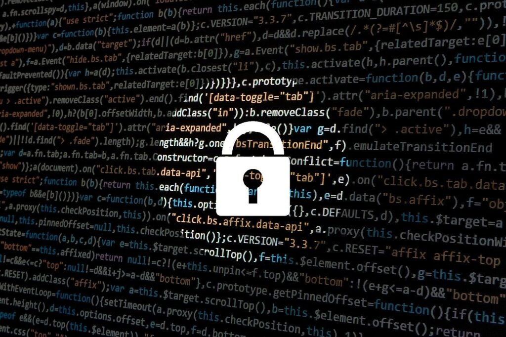 A cyber security concept with a padlock and data