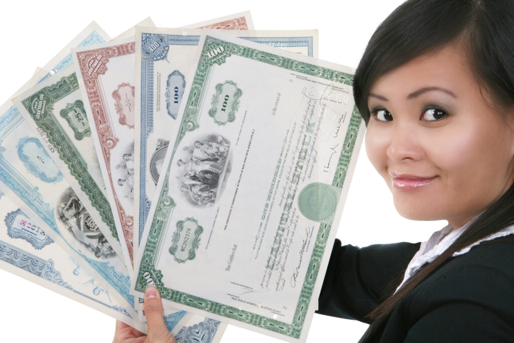 Holding some share certificates