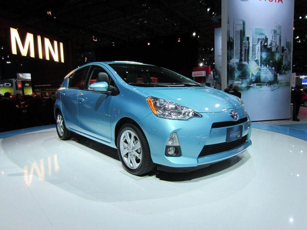 A new hybrid car being displayed