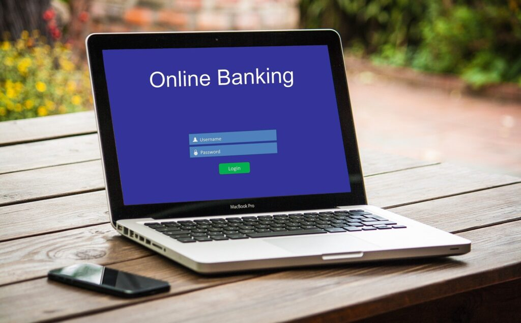 Online banking on a laptop
