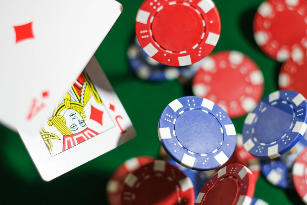 Playing Poker and gambling with chips in a casino