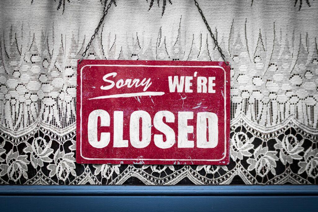 A shop closed sign