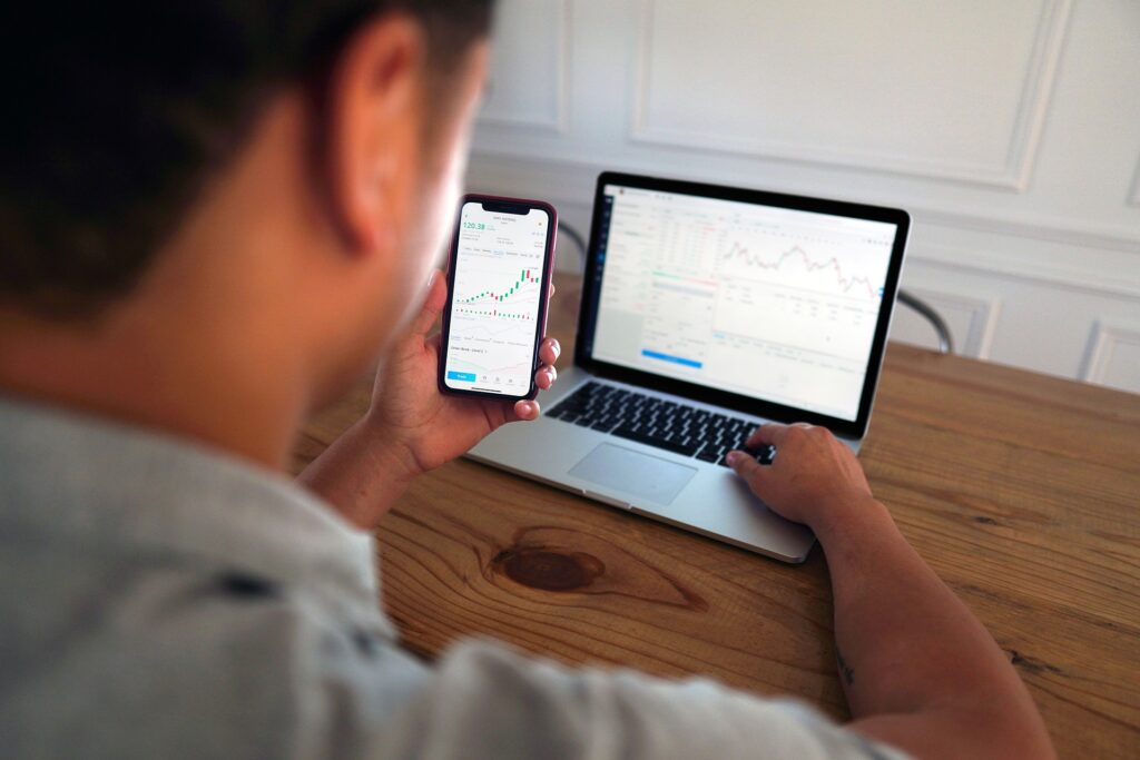 Trading-equities with a laptop and mobile phone