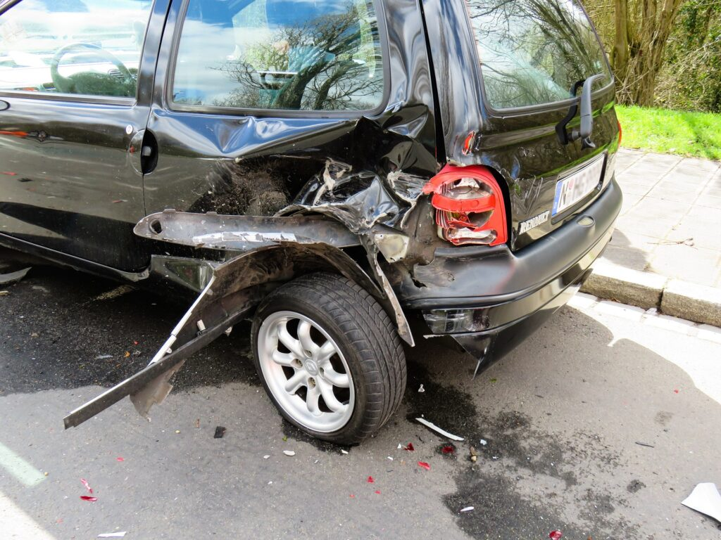 A badly damaged car after an accident