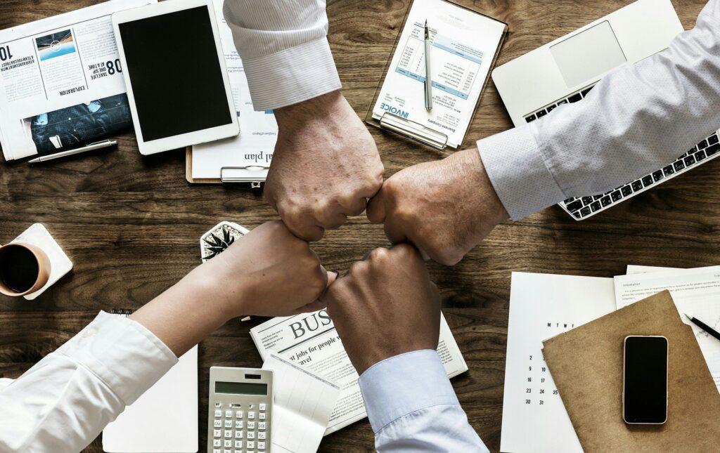 Teamwork amid a staff brainstorming session