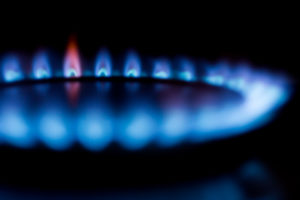 Close up of a gas burner on a stove