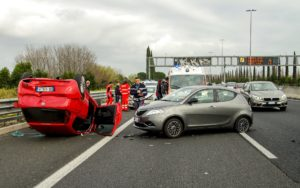 A car accident involving several cars