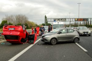 A car accident involving several cars