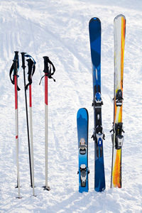 Ski equipment in the snow