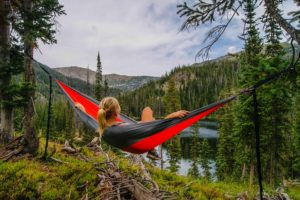 Resting in a hammock when travelling