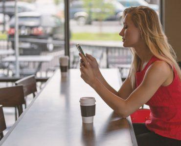 Girl uses mobile phone