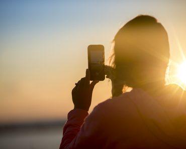 Using a smartphone in the sun