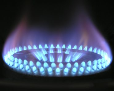A gas flame on a cooker