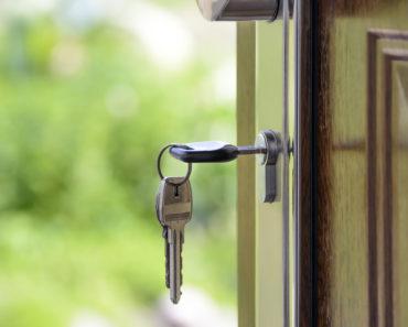 A door key left in a lock