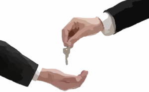 Handing over keys to a new house