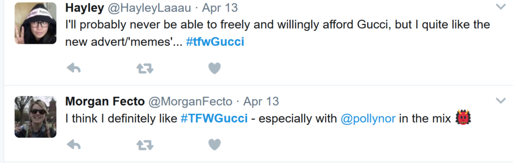 A tweet illustrating virality of the Gucci campaign