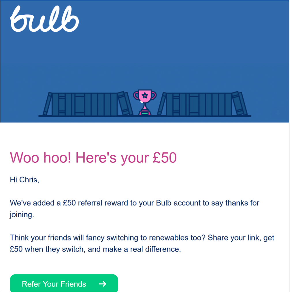 Email from Bulb informing me about the £50 bonus