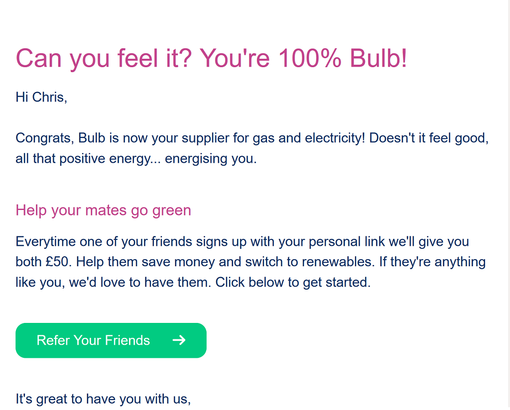 Friendly welcome email from Bulb Energy