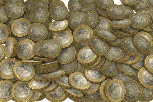 Pound coins in a heap