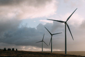 Wind turbines generating renewable electricity