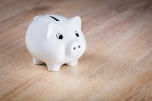 A white piggy bank for saving money