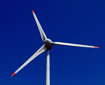 A wind turbine close up